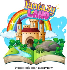 Font design for word fantasy land with castle towers illustration