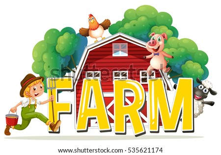 font design word farm farmer animals stock vector royalty free rh shutterstock com Cute Farm Animal Clip Art Finger Painting of Farm Animals