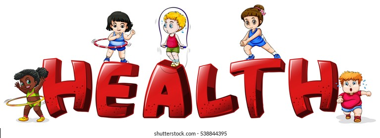 Font design for word health illustration