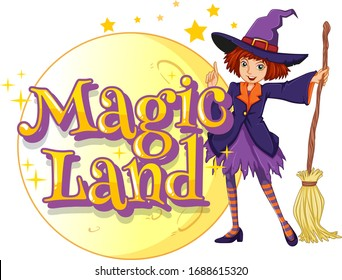 Font design for word magic land with witch and magic broom illustration