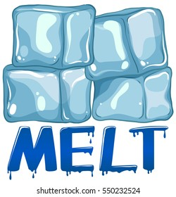 Font design for word melt illustration
