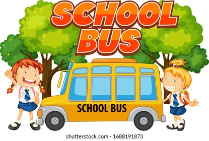 Font design for word school bus with students by the bus illustration