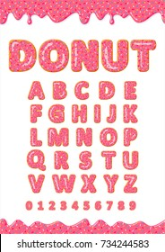 Font of donuts. Bakery sweet alphabet. Letters and numbers with pink glaze donut. Vector poster