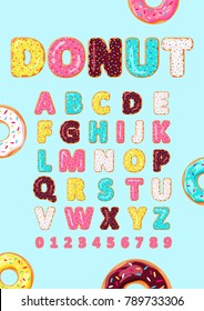 Font of donuts. Bakery sweet alphabet. Letters and numbers with pink, yellow, blue glaze. Vector poster