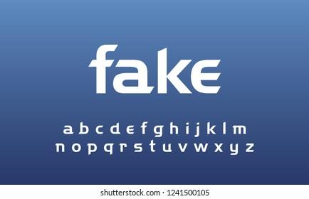 Font facebook technology, social, network, sport, split, slash, cut design concept. Modern abstract alphabet lowercase set. vector illustration