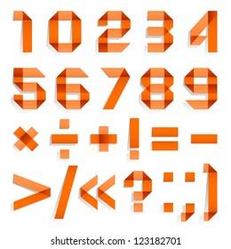 Font folded from colored paper - Arabic numerals, orange. Arabic numerals (0, 1, 2, 3, 4, 5, 6, 7, 8, 9).