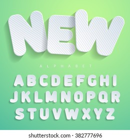 The font in the form of flat stickers design with horizontal stripes. Imitating cardboard, paper surfaces. For a wide use in advertising and web. Suitable for posters, banners. Vector Illuctration