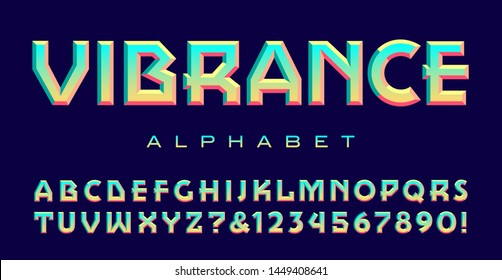 Font with geometric lines and a bright vibrant color scheme; Vibrance alphabet.
