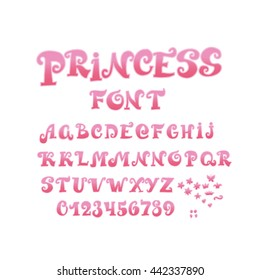 Font For Girl With Numbers And Alphabet Fairy Tale Princess ABC Vector Illustration