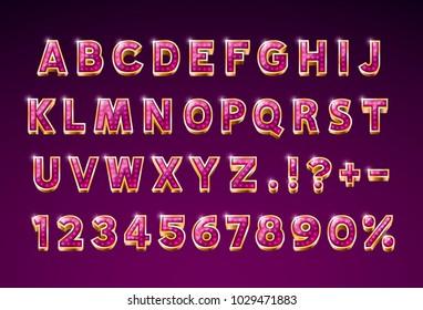 Font glass lamp symbol, gold letter and numbers set. Vector illustration