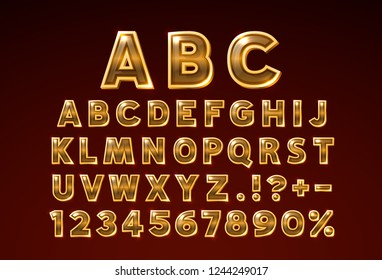 Font golden glass symbol, gold letter and numbers set. Vector illustration