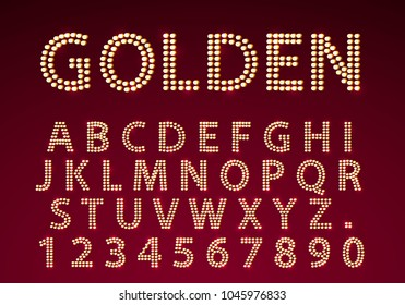 Font golden lamp symbol, gold letter and numbers set. Vector illustration