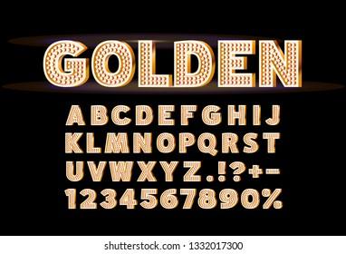 Font golden lamp symbol, gold letter and numbers set. Vector illustration