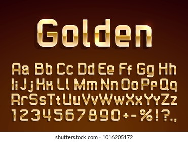 Font golden symbol, gold letter and numbers set. Vector illustration