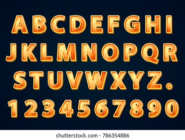 Font golden symbol, gold letter and numbers set. Vector illustration