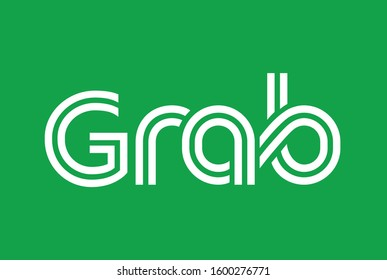 font Grab style typography art vector with green background