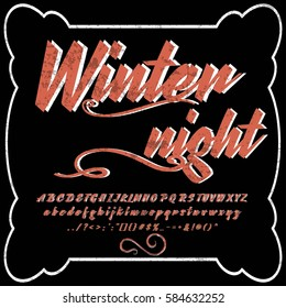 font handwritten vector Calligraphic vector vintage alphabet,vector,script,font,labels,designers for typeface,grunge,banners with decoration,handcrafted,Hand Lettering winter night