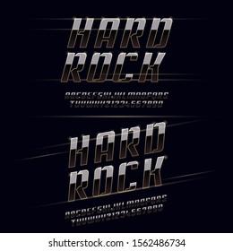"""Font """"Hard Rock"""" Elegant Sport Black, Silver and Golden Metal Chrome Alphabet. Typography modern style gold font for technology, digital, movie logo design. Vector illustration."""