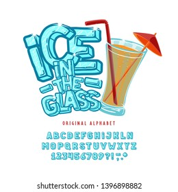 Font Ice in the Glass. Craft retro vintage typeface design. Fashion type.  Pop modern display vector letters alphabet.  Drawn in graphic style. Set of Latin characters, numbers.