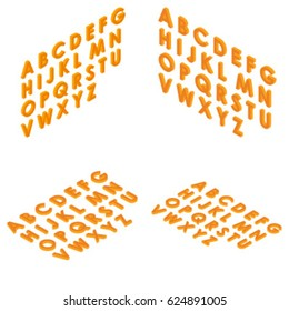 Font isometric set 3d capital letters cartoon flat style orange clean isolated