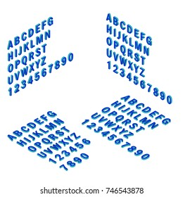 Font isometric set 3d capital letters cartoon flat style blue clean isolated