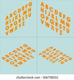 Font isometric set 3d vector illustration capital letters cartoon flat style orange