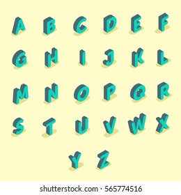 Font isometric set 3d vector illustration capital english letters