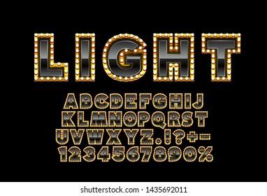 Font lamp symbol, black letter and numbers set. Vector illustration