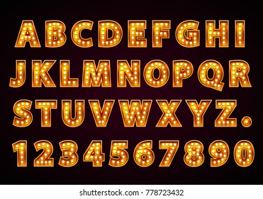 Font lamp symbol, gold letter and numbers set. Vector illustration