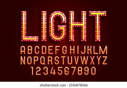 Font lamp symbol, red letter and numbers set. Vector illustration