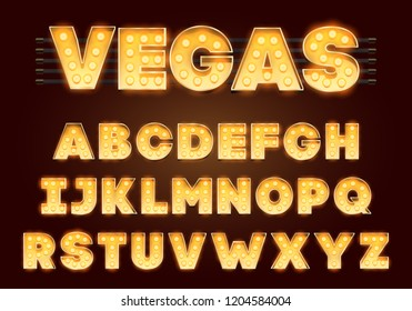 Font with lamps. Gold Light Bulb, Broadway style. Glowing sparkles Alphabet Set. Template Cartoon Vector illustration for party poster or for circus, movie show, casino, cinema.