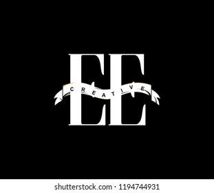 Font Letter EE Isolated Swoosh Modern Monogram Ribbon Logo
