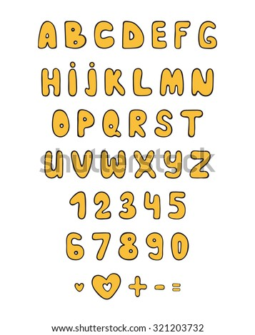 Font Letters Numbers Cartoon Style Yellow Stock Vector Royalty Free