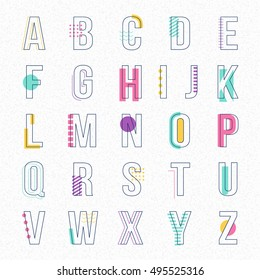 Font line with pastel color chic flat abstract memphis style