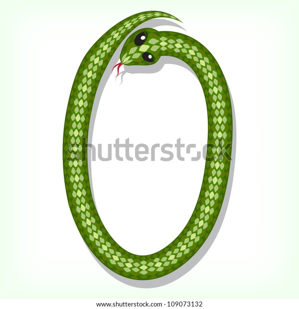 Font made from green snake. Digit 0