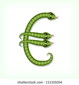 Font made from green snake. Euro symbol