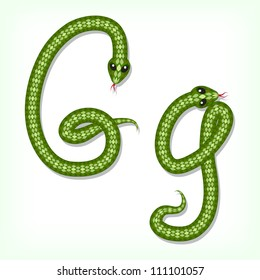 Font made from green snake. Letter G