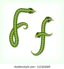 Font made from green snake. Letter F