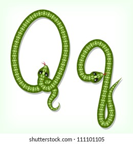 Font made from green snake. Letter Q