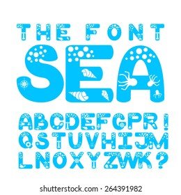 Font with marine elements. Water font with air bubbles. Travel, adventure, vacation, vacation, vacation contours of objects, items, characters and symbols
