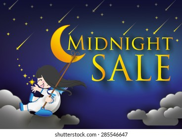 Font midnight sale on night sky with girl,moon,star.
