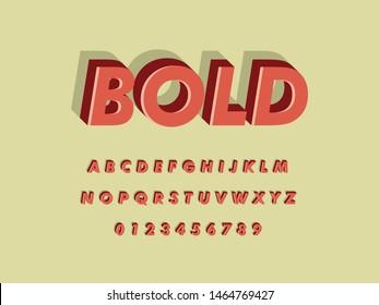 Font. Modern Retro Vintage Bold Font and Alphabet. Vector