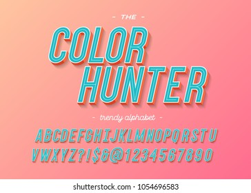 Font modern typography colorful style. 3d alphabet for party poster, t shirt, promotion, kids book, greeting card, sale banner, printing. Vector Illustration