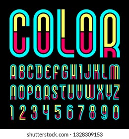 Font name Disco. Trendy alphabet, colorful letters on a black background.