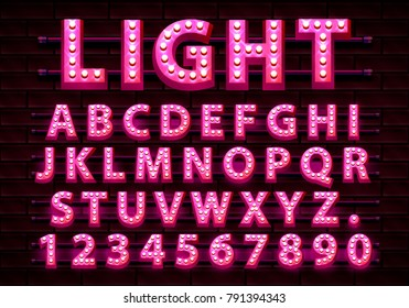 Font Neon purple symbol, light letter and numbers set. Vector illustration