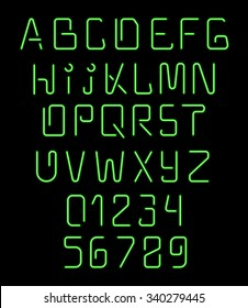 Font neon. Realistic brilliant, fluorescent holiday decoration and design of brochures. Alphabet nightclub. Bright letters numbers