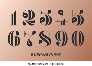 Font of numbers in classical french didot or didone style with contemporary geometric design. Vintage and retro typographic. Beautiful elegant numeral, dollar and euro symbols. Vector Illustration