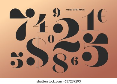 font of numbers in classical french didot style with contemporary geometric design beautiful elegant stencil
