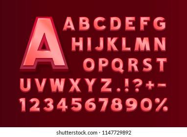 Font red symbol, 3d letter and numbers set. Vector illustration