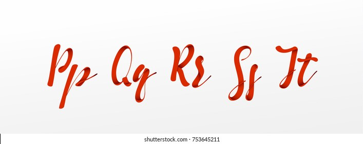 Font ribbon style, alphabet red. Letters p, q, r, s, t, typography vector illustration.